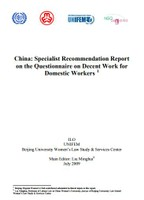 China: Specialist recommendation report on the questionnaire on decent work for domestic workers