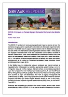 COVID-19 Impact on Female Migrant Domestic Workers in the Middle East