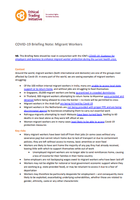 COVID-19: Migrant workers briefing