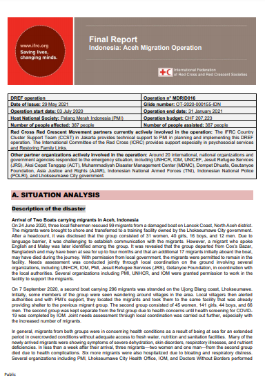 Indonesia: Aceh Migration Operation, Final Report DREF Operation n° MDRID016