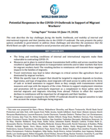 Potential Responses to the COVID-19 Outbreak in Support of Migrant Workers (June 19, 2020) (English)